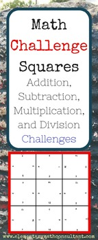 Math Challenge Squares Bundle of 4 (Each Operation!)