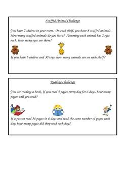 Math Challenge Task Cards Multiplication 2 Step