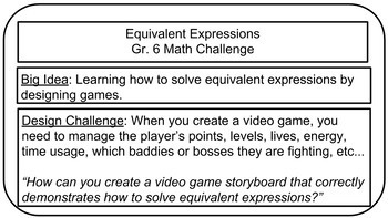 Math Challenge: Video Game Storyboard (Equivalent Expressions)