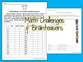 Math Challenges & Brainteasers #2-Fast Finishers,Centers,Homework,& Extensions