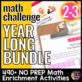 A YEAR of Math Challenges 2nd Grade 3rd Grade   Math Activities Year Long BUNDLE