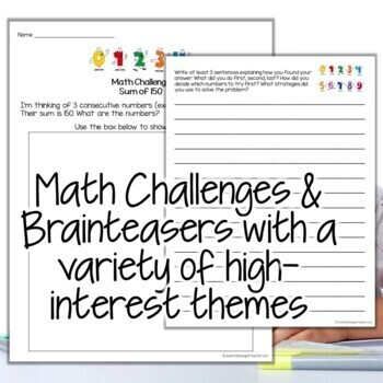 Math Challenges & Brainteasers-Perfect Fast Finishers, Homework, & Extensions