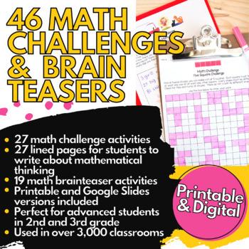 Math Challenges for 2nd Grade 3rd Grade   Math Centers, Homework, & Enrichment