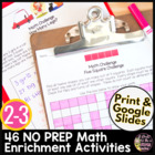 Math Challenges & Brainteasers-Fast Finishers,Math Centers,Homework & Extensions