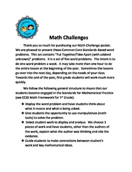 Math Challenges Set #6 CCSS Word Problems Put Together/ Take Apart