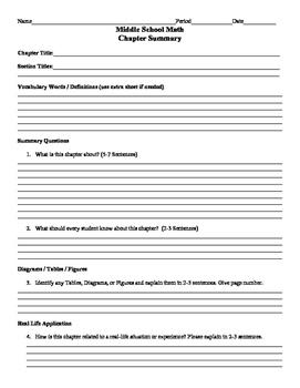 Math Chapter Summary Sheet