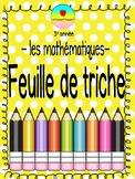 Math Cheat Sheet in French
