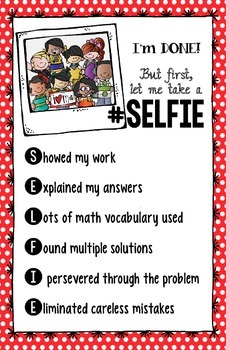 """Math Check """"Your-Selfie"""" Poster - CCSS Math Practices Constructed Response"""