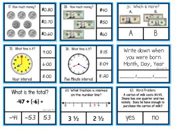 Math Check-up Quarterly Clip Cards