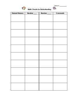 Math Checklists and Conference Note Sheet(s)