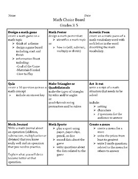Math Choice Board Grades 3-5