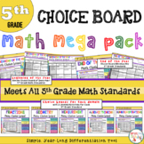 Math Choice Board Mega Pack – All 5th Grade Standards- Year Long