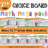 Math Choice Board Mega Pack – All 7th Grade Standards – Year Long