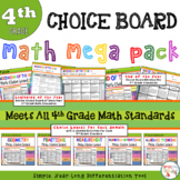 Math Choice Board Mega Pack – Year Long - All 4th Grade Standards