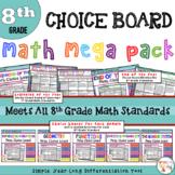 Math Choice Board Mega Pack - All 8th Grade Standards - Di