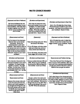 Math Choice Board--NWEA MAP Aligned BULK