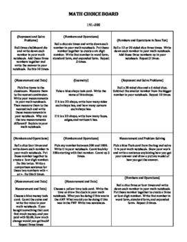 Math Choice Board--NWEA MAP RIT Band 191-200