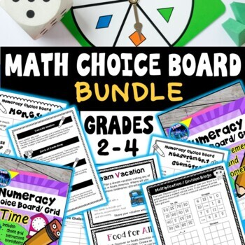 Math Choice Board Task and Activities: Rotations, Whole Class, Support