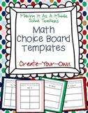 Math Choice Board Templates ~ Create-Your-Own