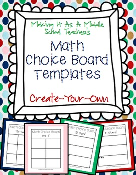 Math choice board templates create your own by making it teacher math choice board templates create your own pronofoot35fo Choice Image