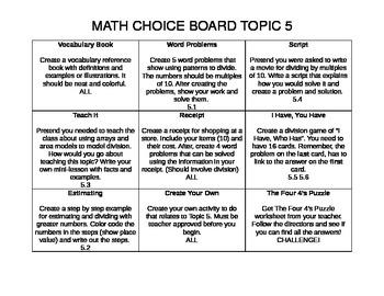 Math Choice Board Topic 5