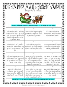 Math Choice Board for December