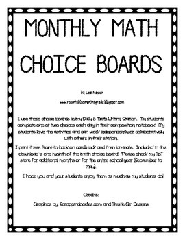 Math Choice Board for February