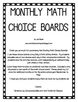 Math Choice Board for January