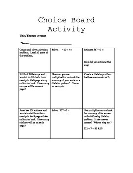 Math Choice Boards for Differentiation