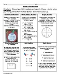 Math Addition and subtraction Choice board