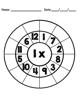 Math Multiplication Circle Page Cards for Clothespins - Black & White