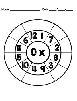Math Multiplication Circle Page Cards for Clothespins - Bl