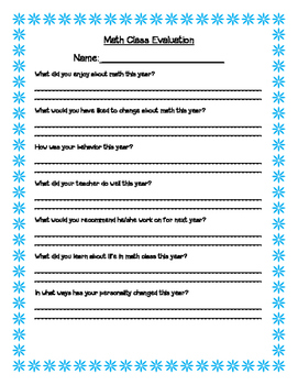 Math Class Evaluation Form By Learnteachinspirerepeat Tpt