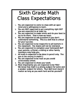 Math Class Expectations