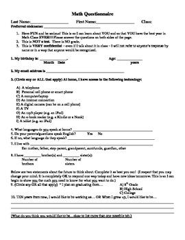 Math Class Questionnaire
