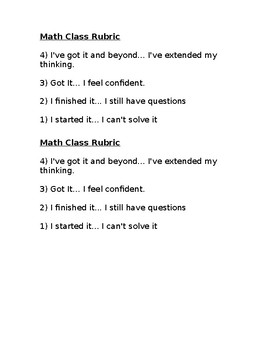 Math Class Rubric