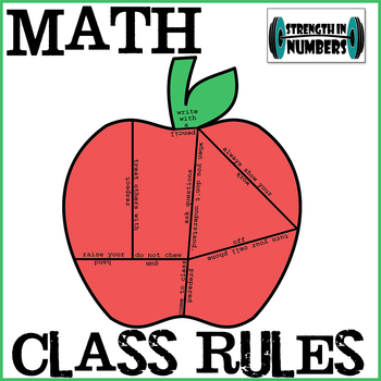 Math Class Rules Apple Mini Puzzle Interactive Notebook  First Day