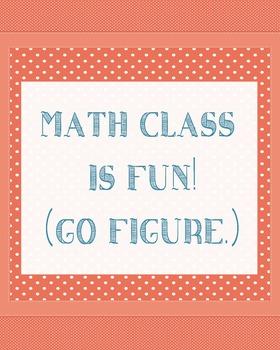Poster Math Class is Fun! (Go Figure.) Polka Dot Design
