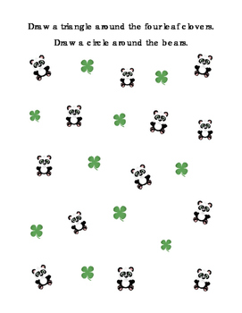 Math Classifying Shapes Circle Triangles Four Leaf Clover Saint Patrick's Day