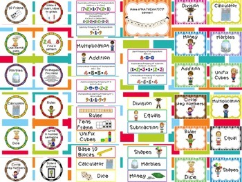 Math Classroom Decor {Mini Posters & Word Wall Picture Cards}