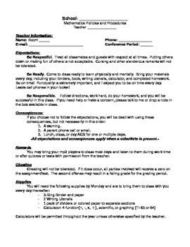 Math Classroom Discipline Plan