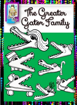 Math Clip Art-Alligator Family Greater Than/Less Than Graphics