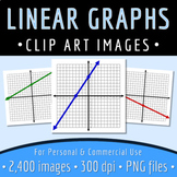 Math Clip Art - Linear Graphs - Intercepts Marked - 2,400 Images