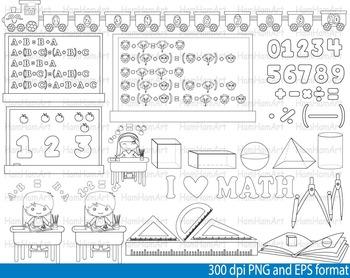 Math Clip Art Teacher outline stamp coloring School mathematics geometry -092-