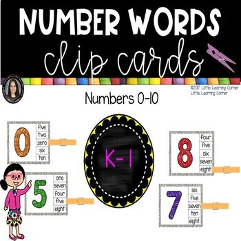 Math Sight Word Clip Cards - Number Words