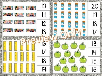 Math Clip Cards - Numbers 11-20 - Back to School