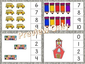 Math Clip Cards - Numbers to 10 - Back to School