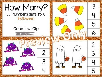 Math Clip Cards - Numbers to 10- Halloween