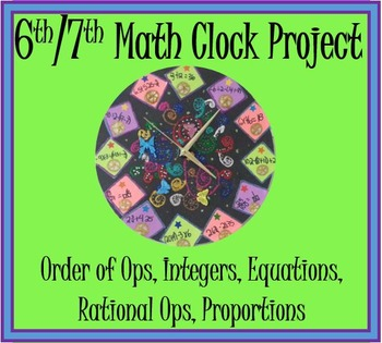Math Clock Project 6th 7th (Order of Operations, Integers,