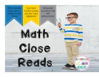 Math Close Read Freebie